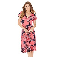 The Collection - Pink palm print V-neck wrap dress
