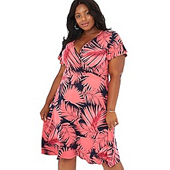 The Collection - Pink palm print V-neck plus size wrap dress