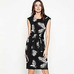 The Collection - Black palm print tie front round neck knee length dress