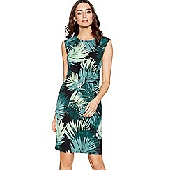 The Collection - Dark green palm print knee length dress