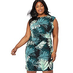 The Collection - Dark green palm print plus size knee length dress