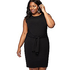 The Collection - Black round neck mini length tie front plus size dress
