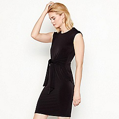 The Collection - Black round neck knee length tie front dress