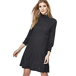 The Collection - Black spotted jersey high neck long sleeve knee length dress