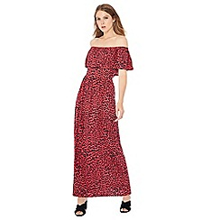 The Collection - Pink leopard print Bardot neck maxi dress