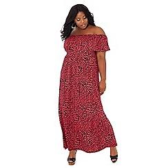 The Collection - Pink leopard print Bardot neck plus size maxi dress