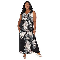 The Collection - Black palm leaf print maxi dress