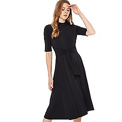 The Collection - Black tie front high neck midi dress