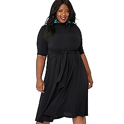 The Collection - Black tie front high neck plus size midi dress