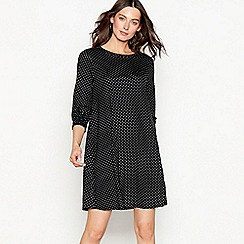 The Collection - Black spot print jersey round neck mini dress