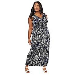 The Collection - Black leaf print plus size maxi dress