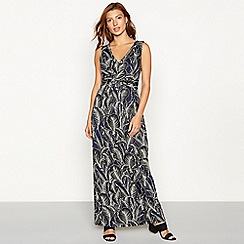 The Collection - Black leaf print maxi dress