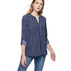 The Collection - Navy spotted striped utility shirt