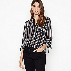 The Collection - Black striped pocket tie sleeve shirt