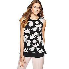 The Collection - Black floral print layered top