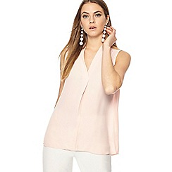ec2bde74dbc5e The Collection - Pink chiffon V-neck plus size sleeveless blouse
