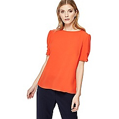 The Collection - Orange ruched sleeve top