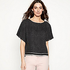 The Collection - Black spot print chiffon short sleeve shell top
