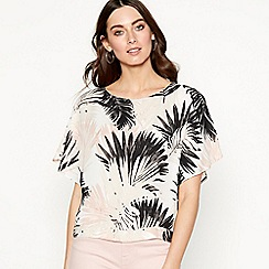 The Collection - Natural palm print chiffon short sleeve shell top