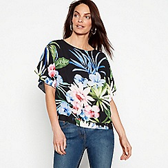 The Collection - Black floral print short sleeve kimono top