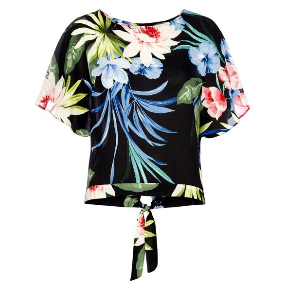 Black sleeve top kimono floral Collection The short print SwqxBnpX