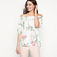 The Collection - Ivory floral print chiffon Bardot neck short sleeve top