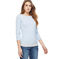 The Collection - Pale blue zip shoulder tipped jumper