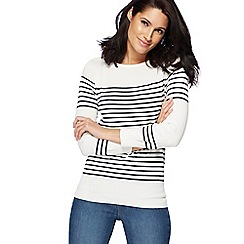 The Collection - Ivory striped zip shoulder jumper