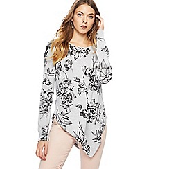 The Collection - Grey floral print asymmetric jumper