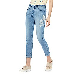 The Collection - Mid blue floral embroidered girlfriend jeans