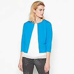 The Collection - Blue textured 3/4 sleeve tailored jacket