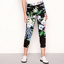 The Collection - Black floral printslim fit sateen trousers