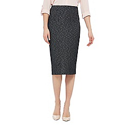 The Collection - Black textured midi pencil skirt