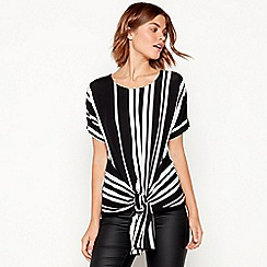 The Collection - Black stripe tie front top