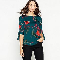 The Collection - Dark green floral print jersey top