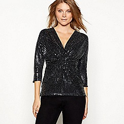 The Collection - Silver sequin stripe twist front 3/4 length sleeve top