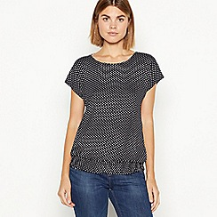The Collection - Black spot print elasticated hem top