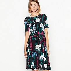 The Collection - Black floral print jersey dress