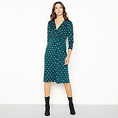 The Collection - Bottle green spot twist midi dress