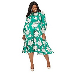 The Collection - Green floral print plus size midi dress