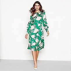 The Collection - Green floral print midi dress