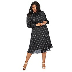 The Collection - Black spot print plus size midi dress