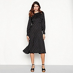 The Collection - Black spot print midi dress