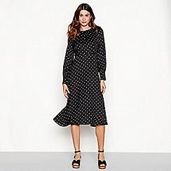 The Collection - Black spot print midi dress