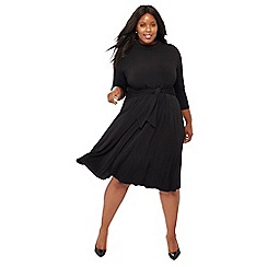 The Collection - Black tie front high neck knee length plus size dress
