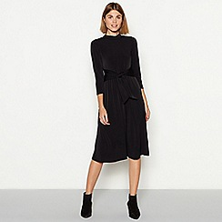The Collection - Black tie front high neck knee length dress