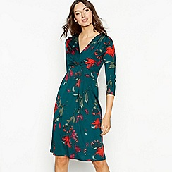 The Collection - Bottle green floral print twist front knee length dress