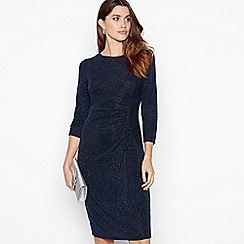 The Collection - Blue ruched detail glitter midi dress