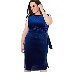 The Collection - Blue velvet tie front sleeveless plus size midi dress