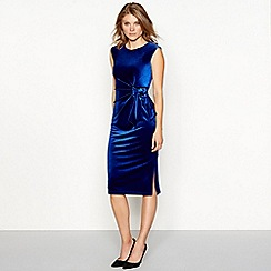 The Collection - Blue velvet tie front sleeveless midi dress